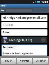 Samsung S5570 Galaxy Mini - E-mail - Escribir y enviar un correo electrónico - Paso 11