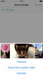 Apple iPhone 6 iOS 8 - MMS - Escribir y enviar un mensaje multimedia - Paso 9